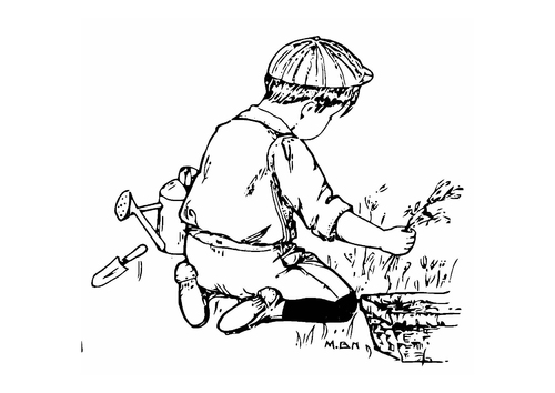 Coloring page boy in the garden