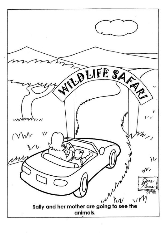 Coloring page 01 - entrance wildlife Safari