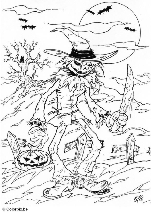 Coloring page 01 halloween creep