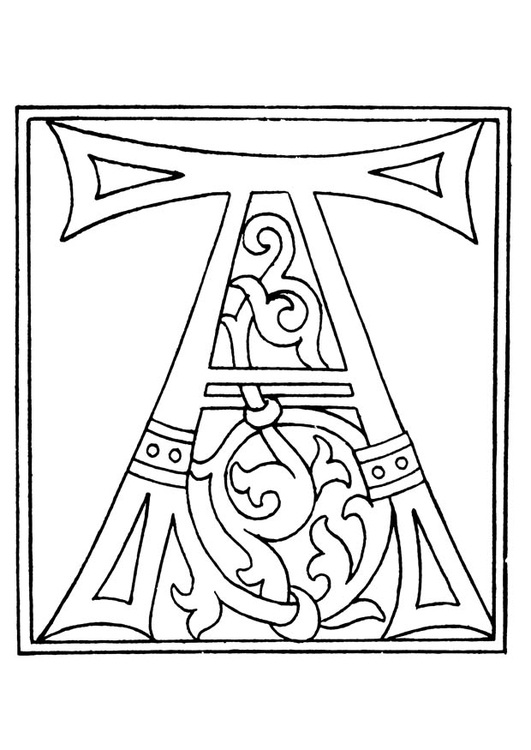 Coloring page 01a. alphabet A
