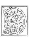 Coloring pages 01a. alphabet D