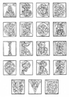 Coloring pages 01a. alphabet end of 15th century