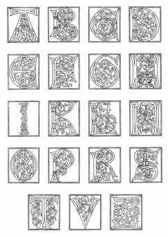 Coloring page 01a. alphabet end of 15th century