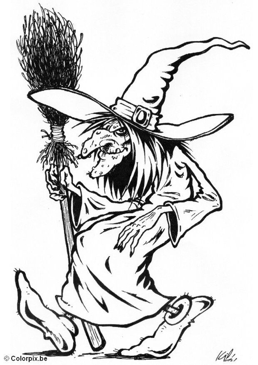 Coloring page 02 halloween witch