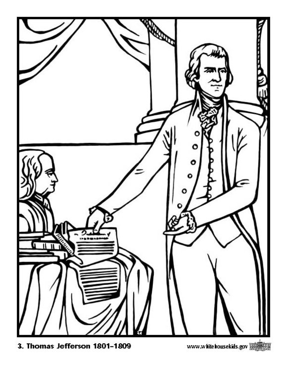 Coloring page 03 Thomas Jefferson