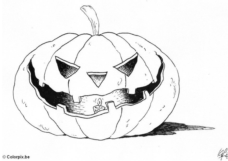 Coloring page 04 halloween pumpkin