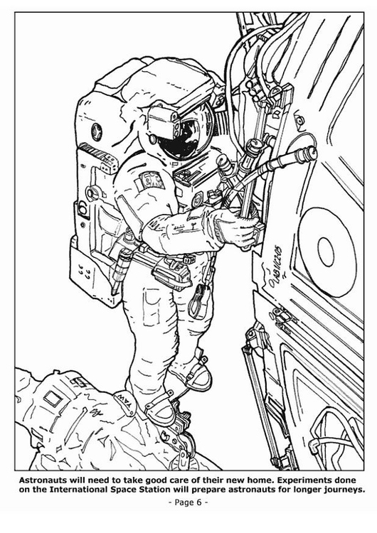 Coloring page 06 astronauts in space station
