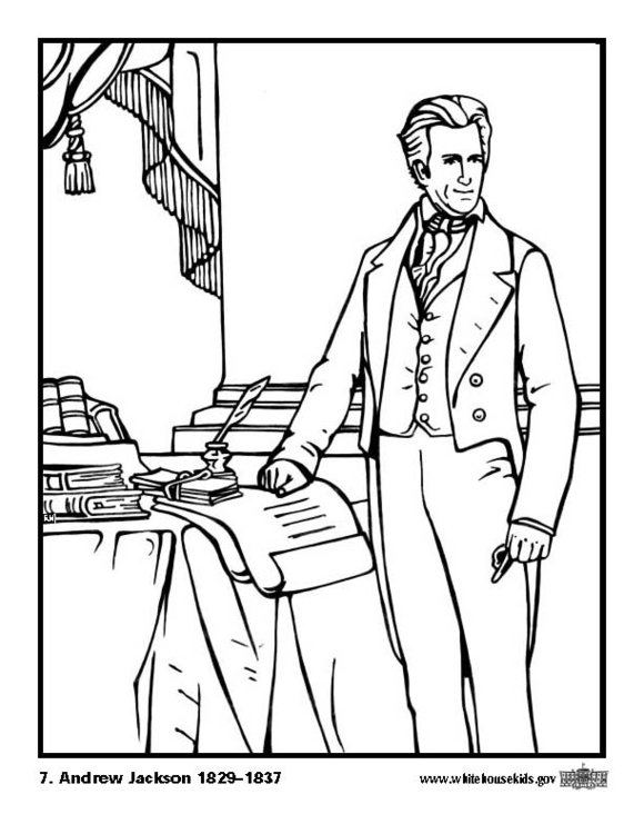 Coloring page 07 Andrew Jackson