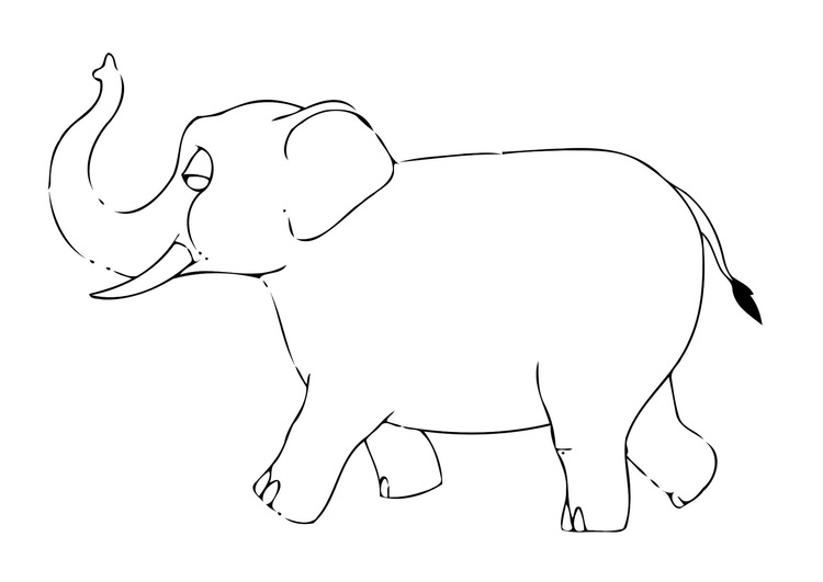 Coloring page 07b. elephant