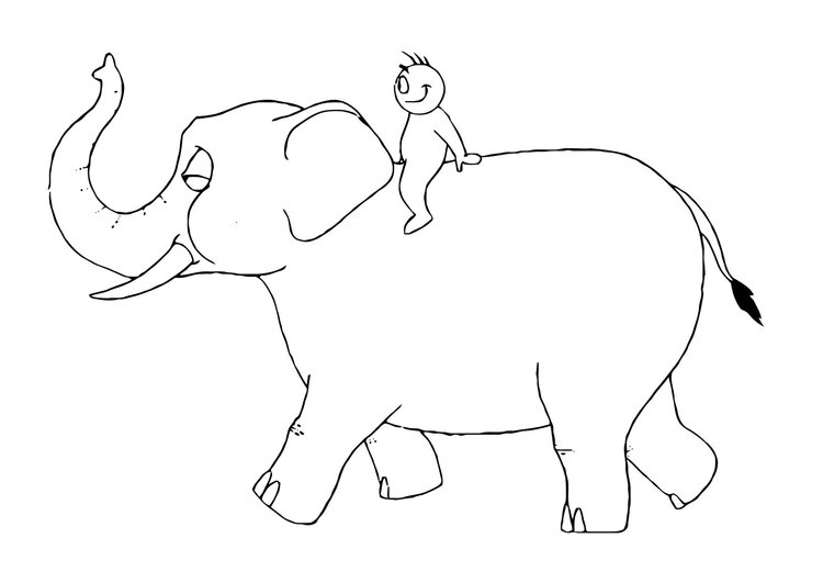 Coloring page 07b. elephant with person