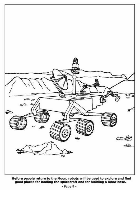 Coloring page 09 moon robot