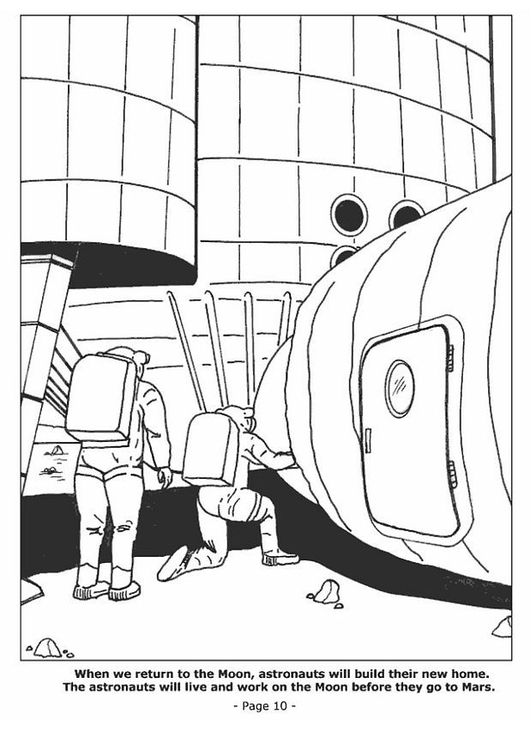 Coloring page 10 Living on the moon