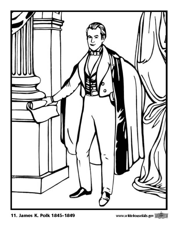 Coloring page 11 James K. Polk