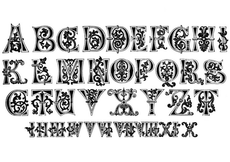 Coloring page 11th century lettertype