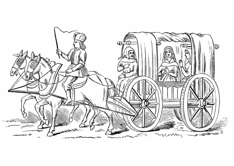 Coloring page 15th century carriage