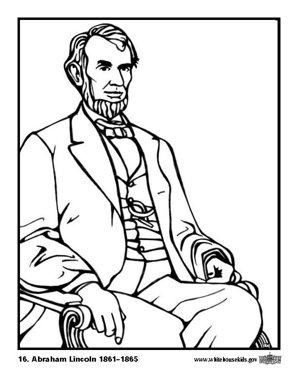 Coloring Page 16 Abraham Lincoln - free printable coloring pages