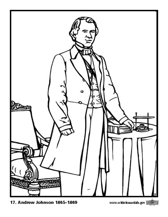 Coloring page 17 Andrew Johnson