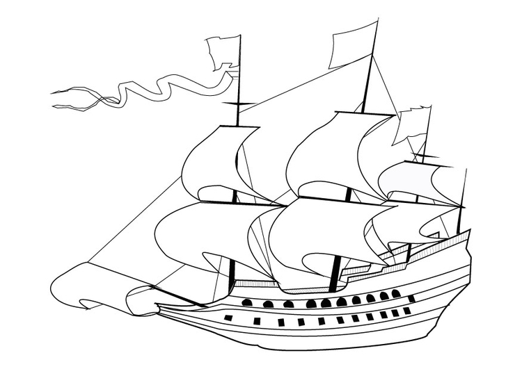 Coloring page 17th century sailing ship