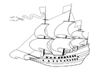 Coloring pages 17th century sailing ship