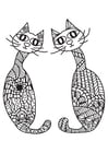 Coloring page 2 cats