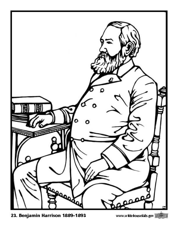 Coloring page 23 Benjamin Harrison