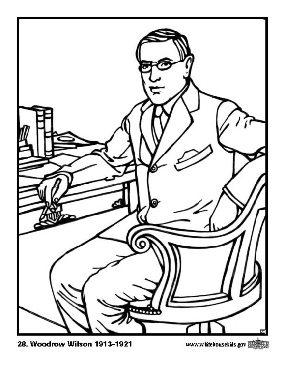 Coloring page 28 Woodrow Wilson