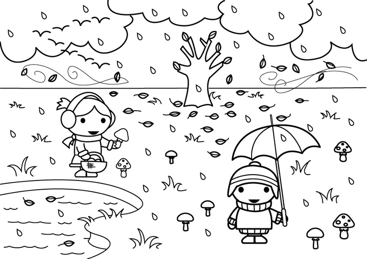 Coloring page 2a autumn