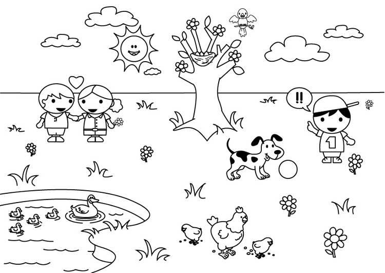 Coloring page 2b spring