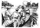 Coloring page 3 men in a boat