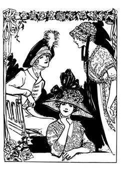 Coloring page 3 women with hats