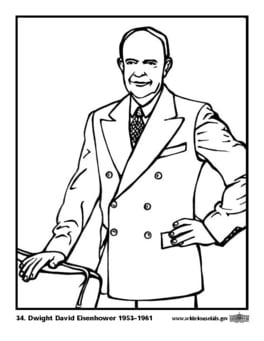 Coloring page 34 Dwight David Eisenhower
