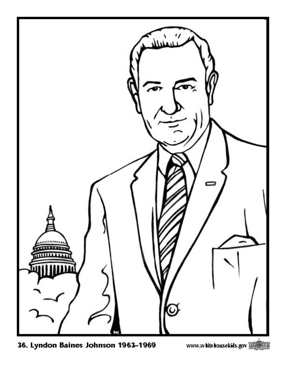 Coloring page 36 Lyndon Baines Johnson