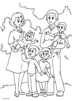 Coloring page 4. mother's new family