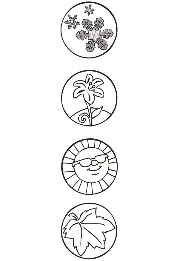 Coloring Page 4 seasons - symbols - free printable coloring ...