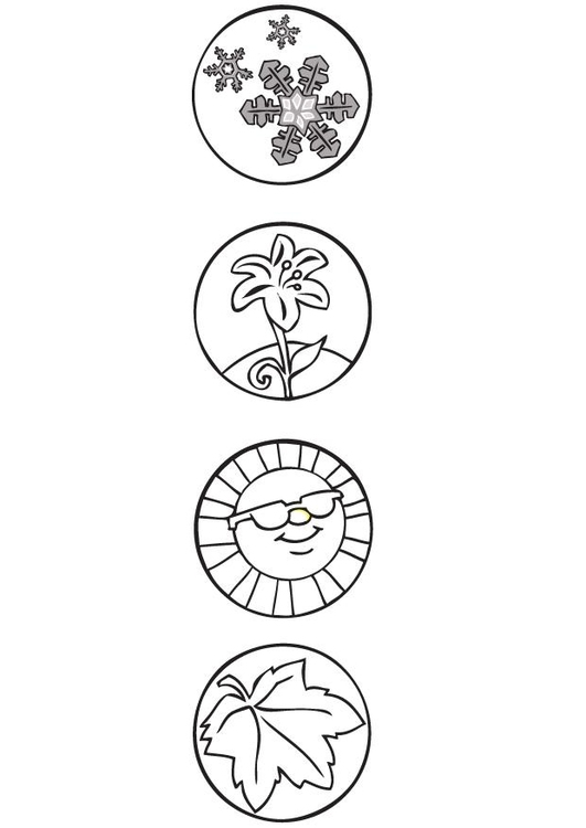 coloring page 4 seasons symbols - 4 Seasons Coloring Page