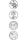 Coloring pages 4 seasons - symbols