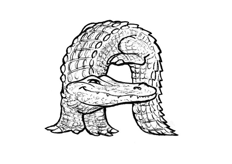 Coloring page a-alligator
