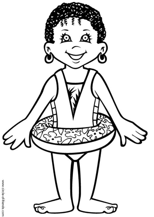 Coloring page Abebi goes swimming