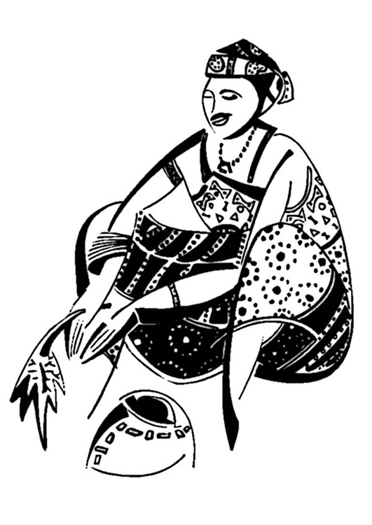 Coloring page African woman