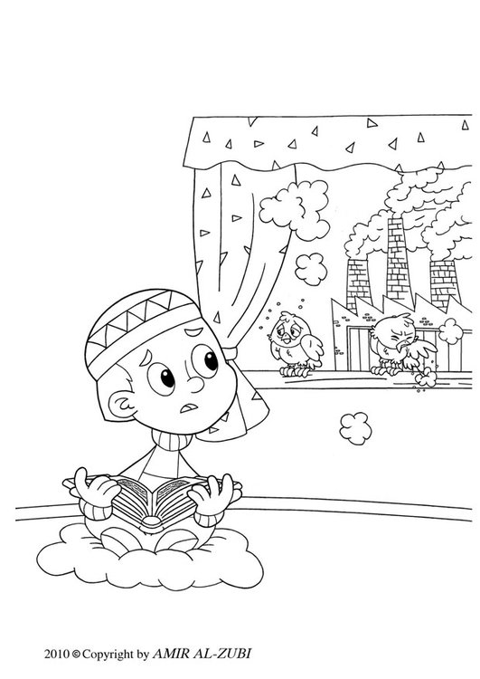 Coloring page air pollution