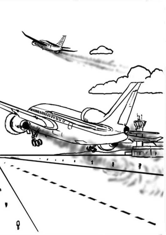 Coloring page airplane - pollution