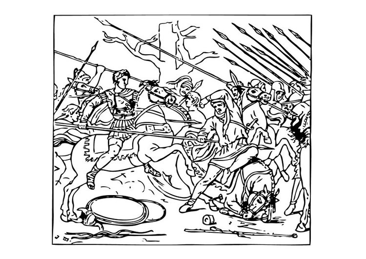 Coloring page Alexander defeats the Persians