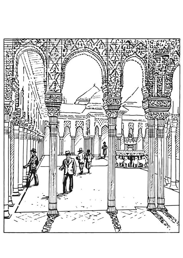 Alhambra coloring pages ~ Coloring page Alhambra, Spain - img 13211.