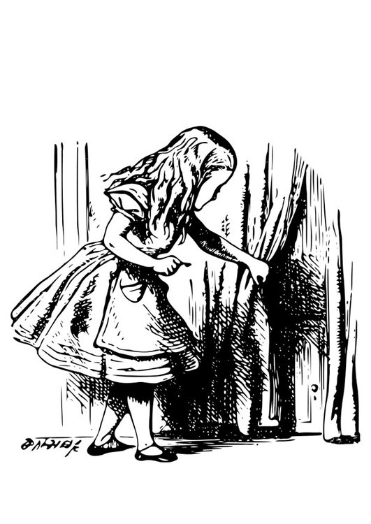 Coloring page Alice in Wonderland - Alice with key