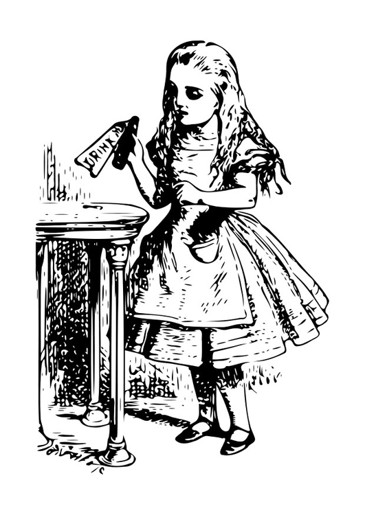 Coloring page Alice in Wonderland - drink me