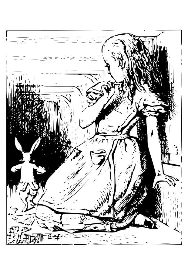 Coloring Page Alice In Wonderland In The Tunnel Free