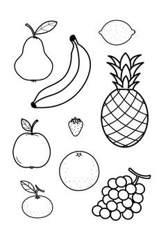 Coloring page all fruit together