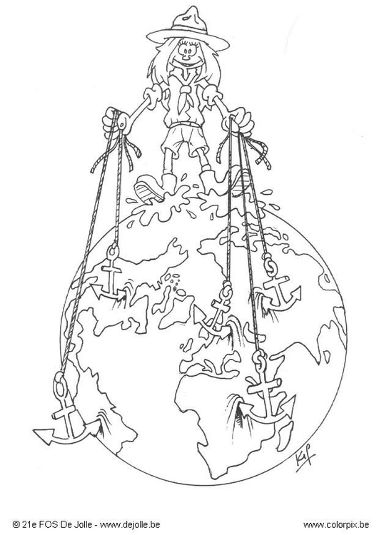 Coloring page all over the world