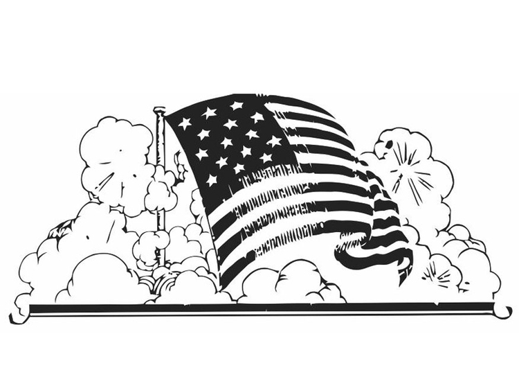 Coloring page American flag - img 19848.