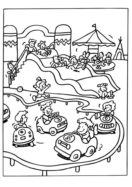 Coloring page amusement park